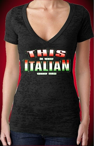 This Is What Italian Looks Like Burnout V-Neck W 174