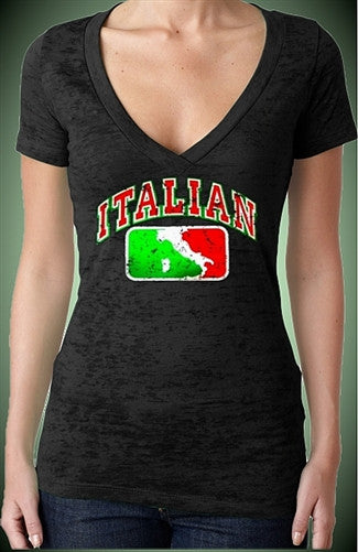 Italian Map Burnout V-Neck W 157