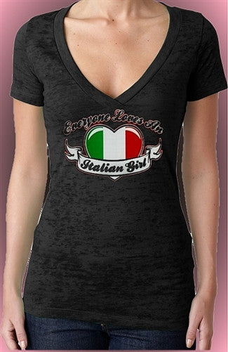 Everyone Loves An Italian Girl burnout V-Neck W 300