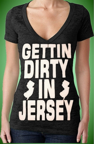 Gettin Dirty In Jersey Burnout V-Neck W 104