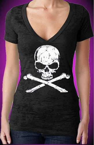 The Skull Burnout V-Neck W 294