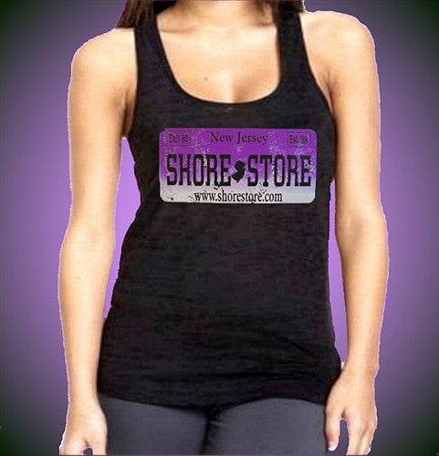 License Plate Purple Distressed Burnout Tank Top W 386