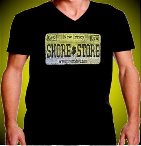 Shore Store License Plate Yellow Rhinestone V-Neck