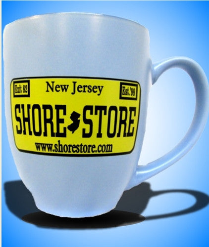 Shore Store License Plate Blue Mug