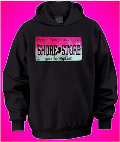 Shore Store Pink License Plate Distressed Hoodie