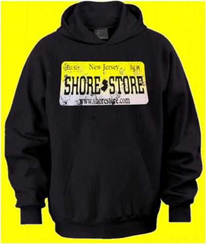 Shore Store Yellow License Plate Distressed Hoodie