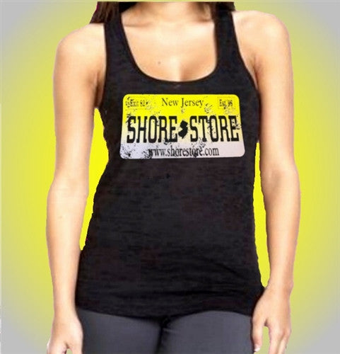 Shore Store Yellow License Plate Distressed Burnout Tank top