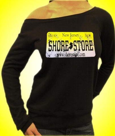 Shore Store Yellow License Plate Distressed Off The Shoulder
