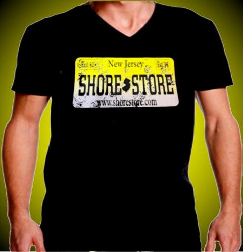 Shore Store Yellow License Plate Distressed V-NEck