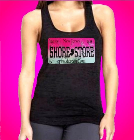 Shore Store License Plate Distressed Burnout Tank Top