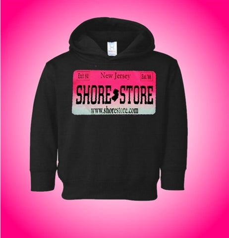 Jersey Shore Store Pink License Plate Kids Hoodie