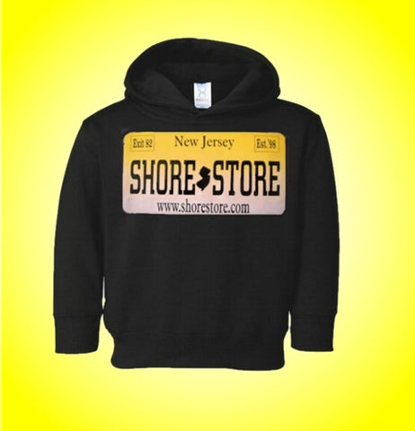 Jersey Shore Shore Store Yellow License Plate Kids Hoodie