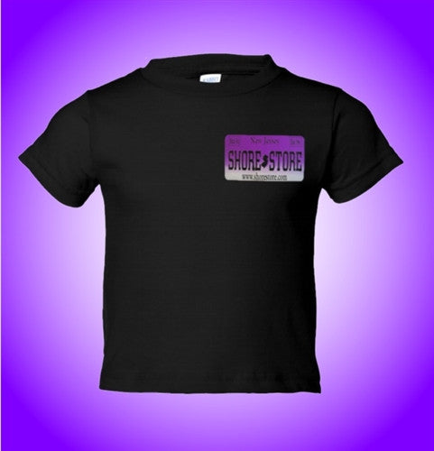 Jersey Shore Shore Store Purple License Plate Kids T-Shirt