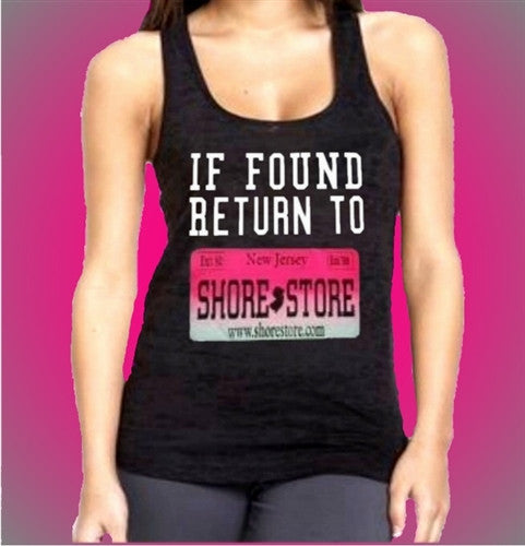 If Found Return to Shore Store Pink Plate Burnout Tank Top