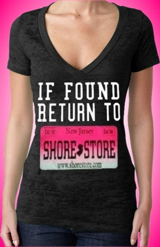 If Found Return To Shore Store Pink Plate Burnout V-Neck