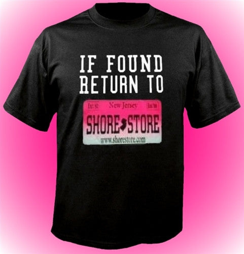 If Found Return To Shore Store Pink Plate T-Shirt