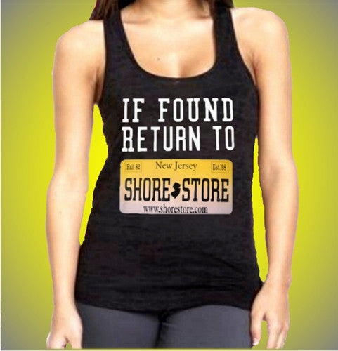 If Found Return to Shore Store Yellow Plate Burnout Tank Top Womens