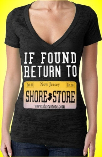 If Found Return To Shore Store Yellow Plate Burnout V-Neck