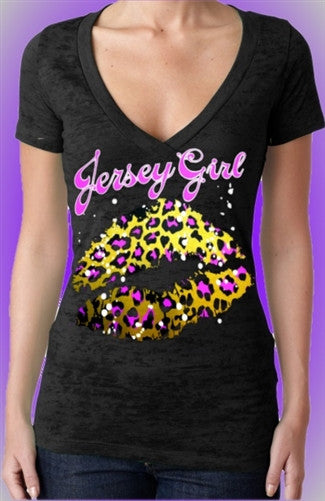 Jersey Girl Leopard Kiss Burnout V-Neck
