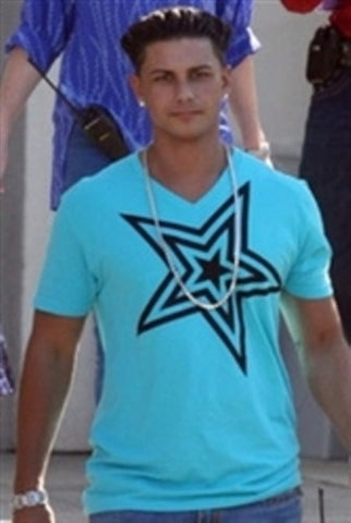Pauly D T-Shirt Aqua with Black Star