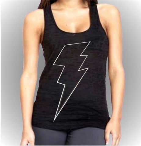 Thunder Bolt White Burnout Tank Top