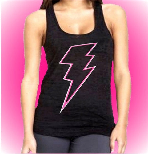 Pink Lightning Bolt Burnout Tank Top Womens