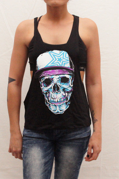 Pauly D Womens Black Open Sides Tank Top with Skull Print