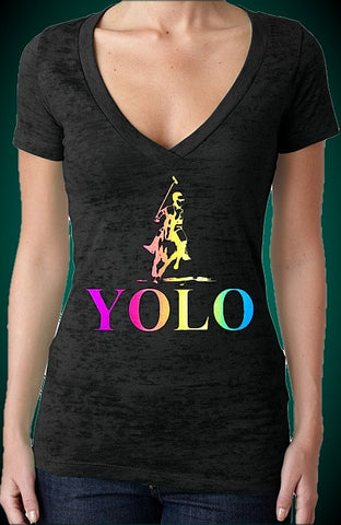 Yolo Polo Neon Burnout V-Neck