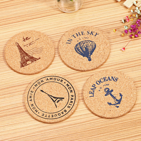 4 pcs/Set Retro Style Cork Drink Coaster Coffee Cup Mat Tea Pad Placemat Table Decor