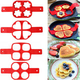 Non Stick Pancake & Egg Form & Flip Tool - Multiple Shapes & Colors