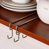 Easy Slide Stainless Steel Kitchen Storage Rack - 12 Hook Design