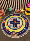 1.5m Cotton Carpet Round Kids Gym Rug Play Game Mat Baby Toys Pouch Storage Organizer Baby Crawling Blanket Outdoor Pad Room Dec