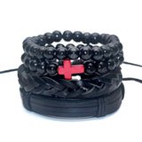 1 Set 5 pcs Black Out Bamboo wood, Lava Stone Beads , Skull and Pull-Closure Leather Bracelet Men's Fashion Bracelet Pack
