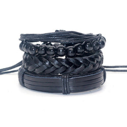 1 set 4 pcs Men Bracelet Casual Braided Genuine Leather Bracelet Multilayer Black Out Bangle Wood Beaded Bracelet Set  Pack