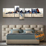 100% Hand Painted Oil Painting on Canvas 5 Panel Modern Abstract New York City Landscape Painting for Living Room Wall Picture