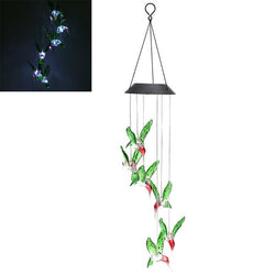 LED Solar Pendant Light Lamp Humming Bird Wind Chime Mobile Home Garden Yard Decor White Xmas