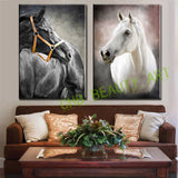 2 Pcs/Set Modern Oil Painting Art Black White Horse HD Print Canvas Painting Wall Pictures for Living Room Decorative Pictures