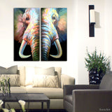 2 Pieces Hand Painited Elephant With Big Ivory Oil Painting on Canvas Frameless Paintings for Living Room Wall Decor Art