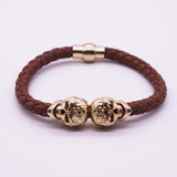 2016 Hot Selling Fashion Braided Leather Bracelets Gold Skull Bracelet Punk Wrap Bracelet Women Men