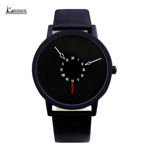 2016 men gift Enmex brief design creative Upside down hand unique design for young fashion unique quartz watches