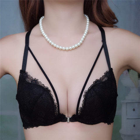 2017 Hot Fastion Women Bra Set Push up Deep V Front Closure Sexy Lingerie Women Underwear Bra Sets Pink Red White Black