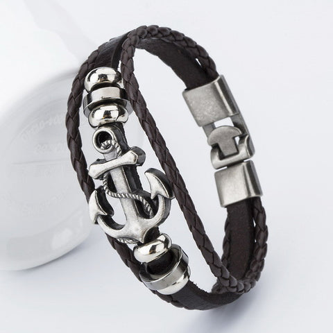 2017 New Fashion Charm Leather Anchor Bracelets For Men Popular Bangle Handmade Leather Bracelets Hooks Bracelets !