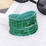 2017 New Fashion Trendy Bracelet Long Crystal Charm Leather Wrap Bracelets & bangles For Women Multilayer Rhinestone Hot Sale
