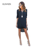 2017 Women Dress Spring Summer Chiffon Long Sleeve Casual Dress Split Tops Blusas Sexy Shirt Dresses Plus Size Vestidos Feminino