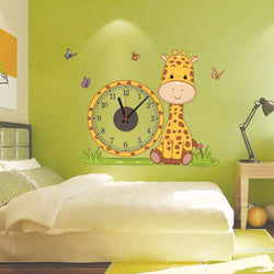 2017 hot Giraffe diy real wall sticker electron clocks home decoration living room children love bedroom decorative wallpapers