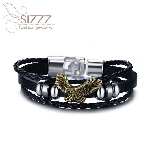 2017 new FASHION Men Stainless Steel Double Layer Black Leather Chain Charm Bracelets Skull Bracelets & Bangles Punk Jewelry