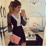 2017 new fashion women a-line Dress sexy black hollow out lace dresses casual long sleeve mini dess