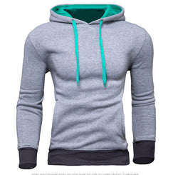 Men's Contrast Color Drawstring Cuff Hoodies Casual Sweatshirt