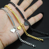 20cm*5mm Women Heart Identification ID Bracelet Wholesale Jewelry Stainless steel Hand For Girls Lover Gold Silver Black HB007