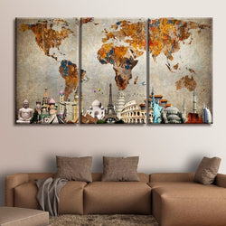 World map framed paintings houseofunik 3 panel canvas painting colorful world map monuments canvas print home decor paintings modern wall pictures gumiabroncs Image collections